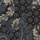 Paisley Italian Silk Necktie Henry Grethel Tie Classic Art Nouveau Brown Steel Blue Long 59