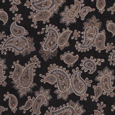 Hans Herman Italy Long Necktie Mens Tie Brocade Silk Paisley Woven Black Bronze 59