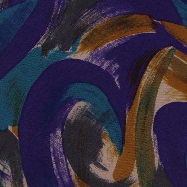 JT Beckett Italian Silk Necktie Colorful Leaves Paint Splashes Purple Mustard Teal Long 59