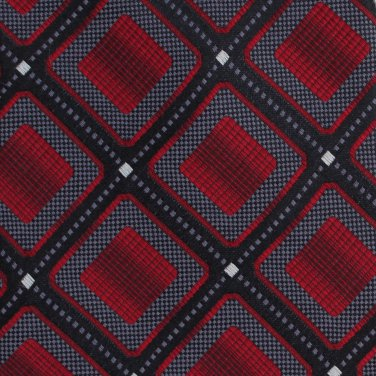 Antonio Fellini Silk Necktie XL 64 Mens Tie Woven Square Diamond Red Black Checker
