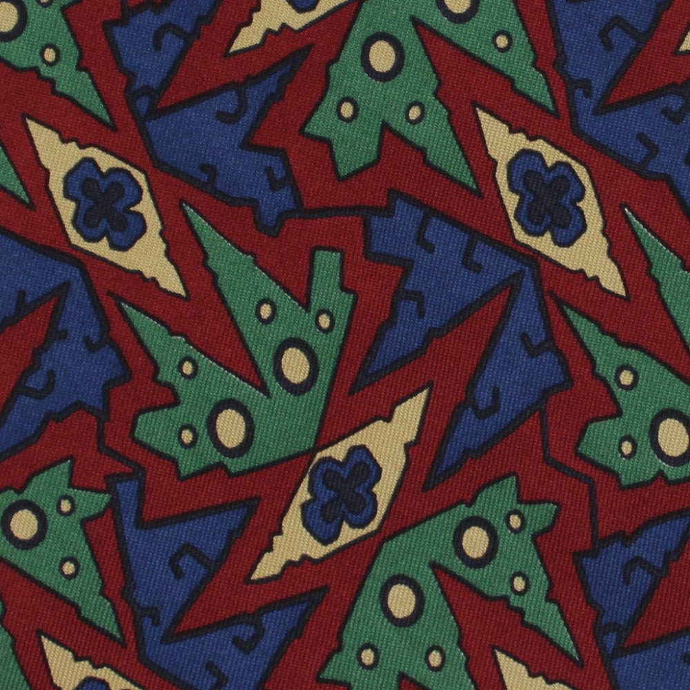 Hart Schaffner Marx Silk Necktie Tribal Jungle Mod Abstract Hickory Brown Green Blue 58