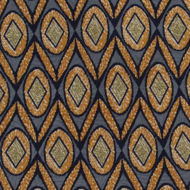 Old School Bespoke Silk Necktie Slate Gray Gold Green Ovals Zig Zag Classic Executive
