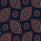 Silk Paisley Necktie Old School Bespoke Navy Blue Crimson Red Medallion Flower 57