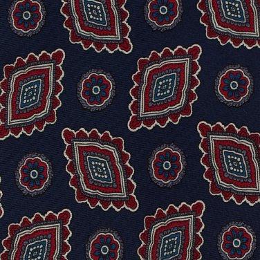 Silk Paisley Necktie Old School Bespoke Navy Blue Crimson Red Medallion Flower 57