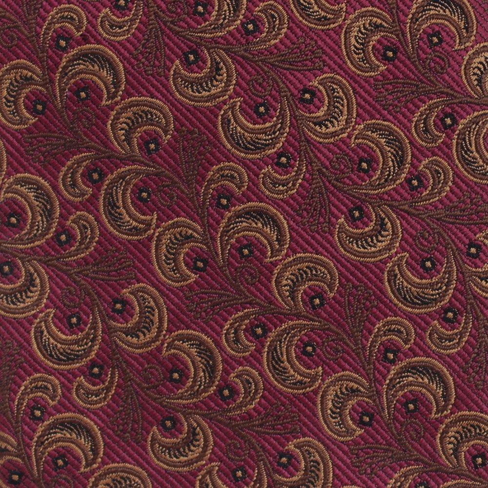 JZ Richards Woven Silk Extra Long 60 Necktie Vine Paisley Maroon Copper  Executive Mens Tie