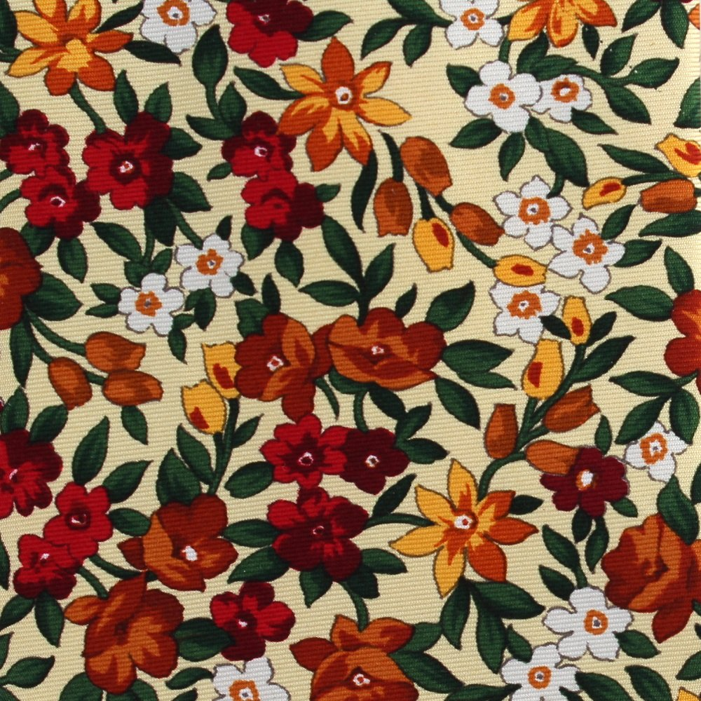 Embassy Row Silk Tie Floral Yellow Red Orange Small Flowers England 58