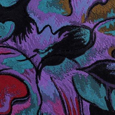 Martin Wong Mod Silk Necktie Tie Short 56.5 Purple Teal Bronze Abstract