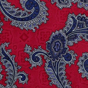 Lord Taylor Italian Silk Paisley Necktie Tie Cranberry Crimson Blue Executive Fashion 57.5
