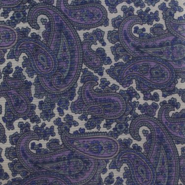 Oleg Cassini Silk Paisley Necktie Blue Purple Gray 57 Mod Designer Fashion