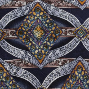 Aldo Ponti Silk Necktie Mens Tie Art Nouveau Scroll Gold Blue Purple Long 59.5