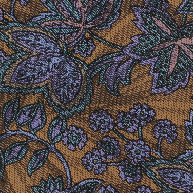 Adolfo Necktie Brass Copper Paisley Floral Purple Blue Designer Fashion 59
