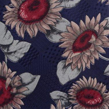 Sunflower Necktie Mens Tie Ketch Vintage New Old Stock Blue Tan Flower Short 55