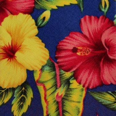 Kahala Creations Hawaii Necktie XL 60 Mens Flower Plumeria Hibiscus Blue Yellow Rose linen