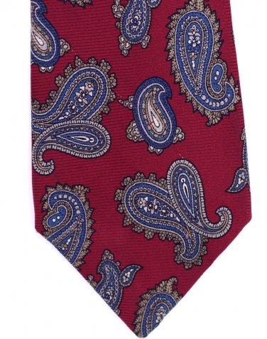 Johnny Carson Necktie Silk Vintage Paisley Tie Skinny Narrow Crimson Blue Gold 57