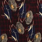 JZ Richards Crepe Silk Tie Mens Necktie Maroon Mod Flower Pod Blue Black 59