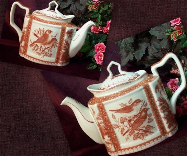 Teapot Red Toile Bird