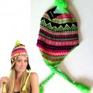 Fluorescent Solid Wig Winter Wear Woman's Chuyo Hat - Green