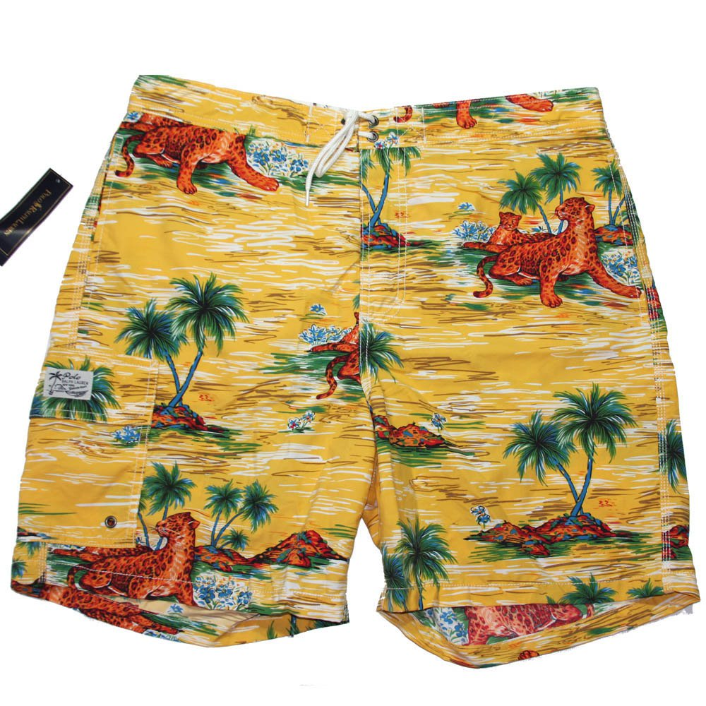 Men's L Polo Ralph Lauren Swimwear Board Shorts Trunks Leopard Palm