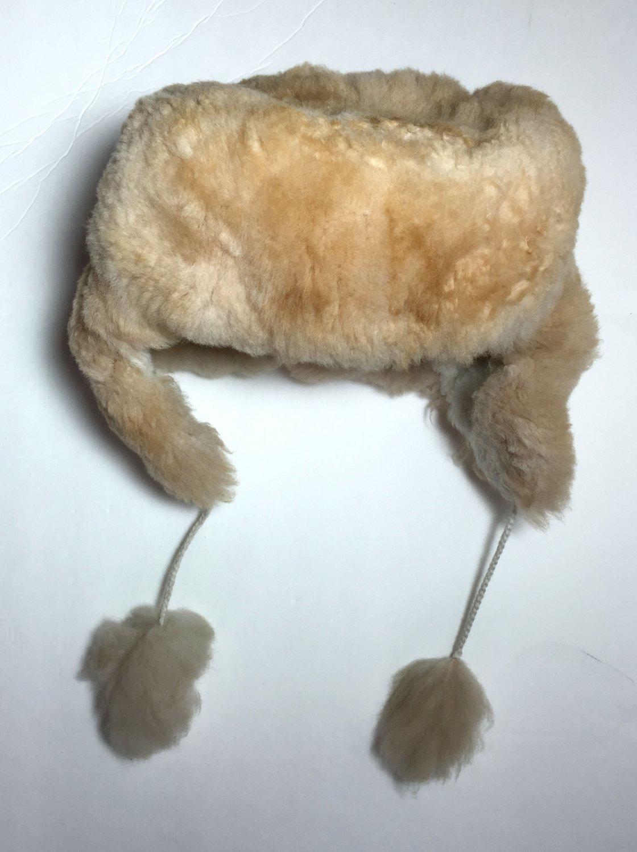 HANDMADE Size 7 Wool Alpaca Beige Winter Unisex Russian Ushanka Earflap Hat