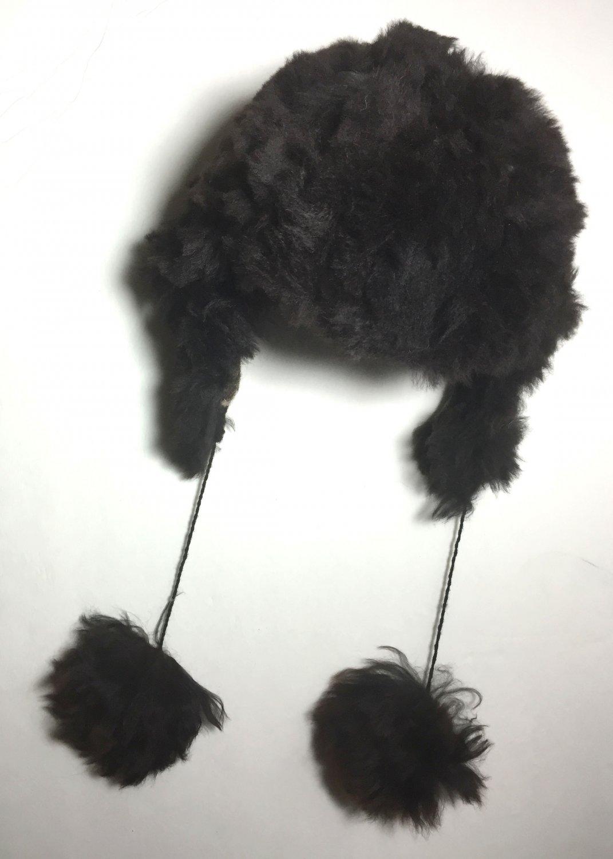 HANDMADE Size 7 Wool Alpaca Black Winter Unisex Russian Ushanka Earflap Hat