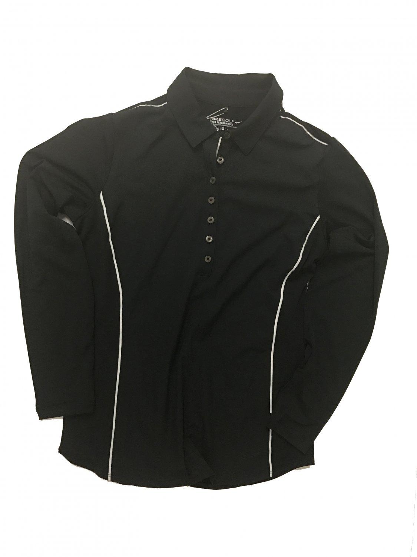Nike Women's Novelty Long Sleeve Polo 452718-010 Size Medium Black
