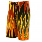 Men's Volcom Red Orange Black Board Shorts Swim 28 Travel Vacation