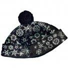 Saks Fifth Avenue Designer Girls Snowflake Pom Pom Winter Black Bucket Hat Medium fits 5 to 7 years