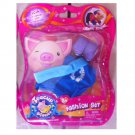 "Teacup Piggies Fashion Set Blue ""Teacup Piggies"" Shirt and Purple Shoes"
