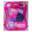 Teacup Piggies Fashion Set - Purple & Pink Satin with White Flowered Shoes Outfit