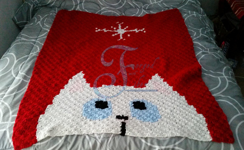 Kitten and Snowflake Blanket