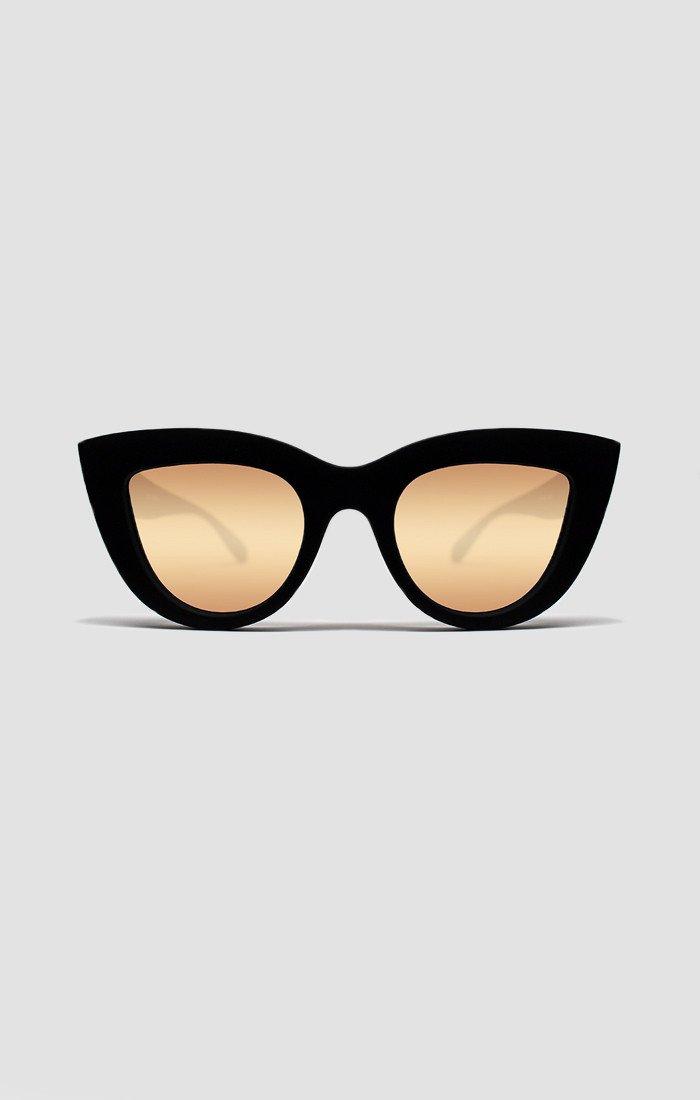Sunglasses QUAY KITTI 1.64 Women Black Cat-eye Pink Gold Mirrored