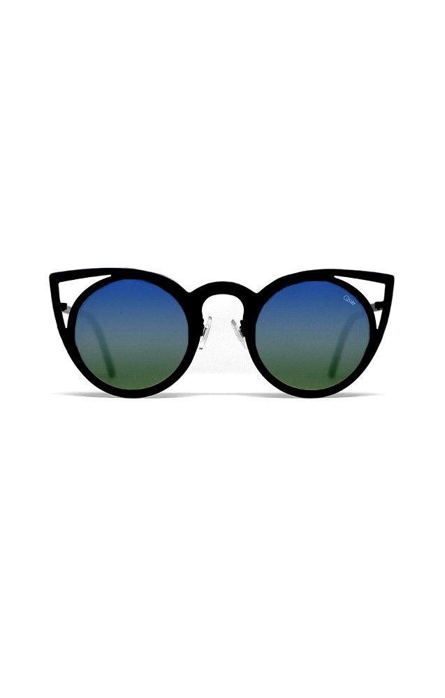 Sunglasses Quay INVADER TEAL 7.55 Women Black Cat-eye Blue Mirrored