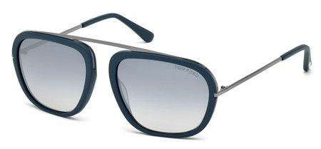 Sunglasses Tom Ford Johnson TF 453 88C Men Blue Square Gradient