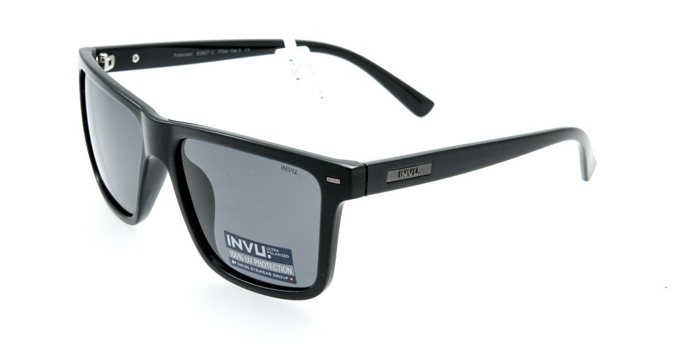 Sunglasses Invu INB2611B Matt Black Men Black Square Polarized