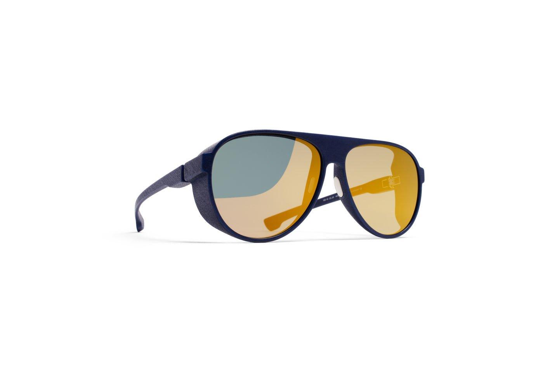 Sunglasses Mykita Mylon PERTH 325 Unisex Navy Blue Aviator Gold Mirrored