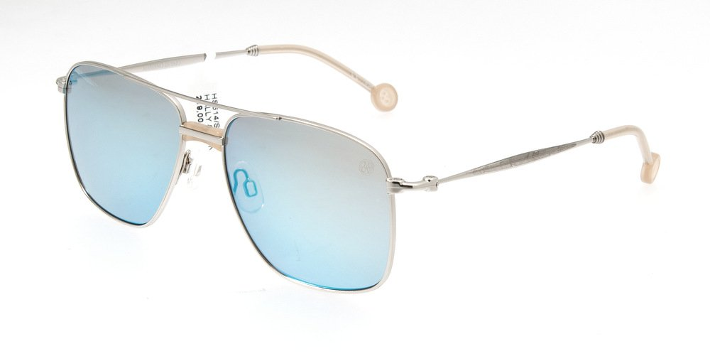 Sunglasses Hally & Son HS614 S03 Unisex Silver Square Blue Mirrored