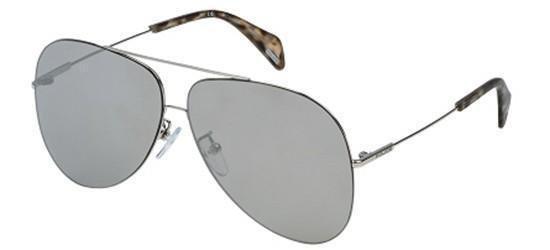 Sunglasses Police GOLDENEYE 3 SPL406 579X Unisex Silver Aviator Silver Mirrored