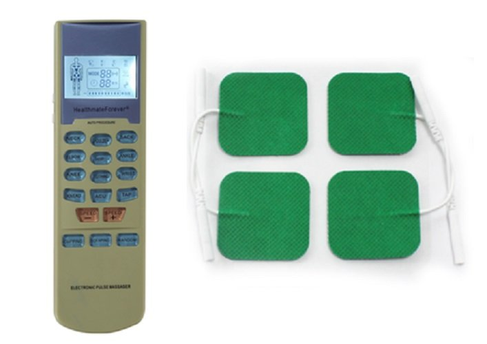 YK15 HealthmateForever TENS Unit Electrical Muscle Stimulator Green + 4 Green Square Pads