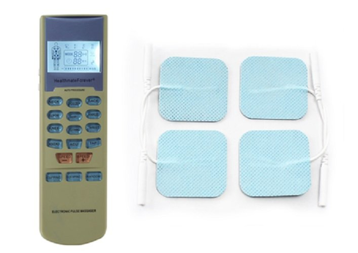 YK15 HealthmateForever TENS Unit Electrical Muscle Stimulator Green + 4 Blue Square Pads