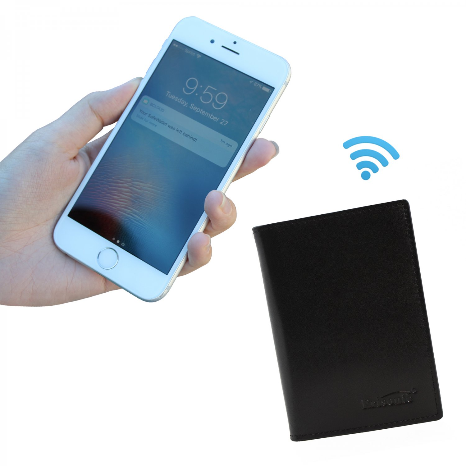 Erisonic Leather Smart Wallet Bluetooth Safe Wallet with app anti-lost for men