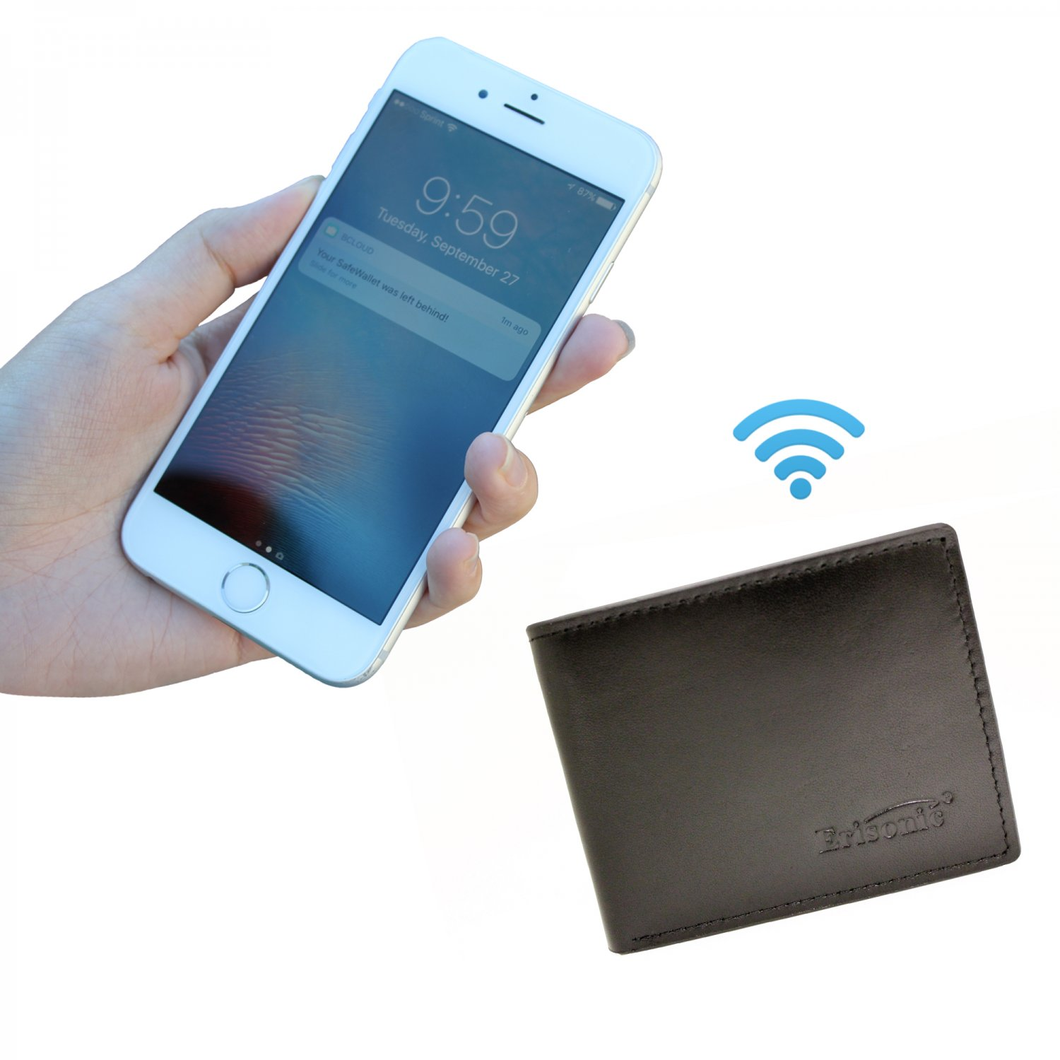 Erisonic Mens Wallet Leather Smart Wallet Bluetooth Wallet with Iphone/Android app anti-lost
