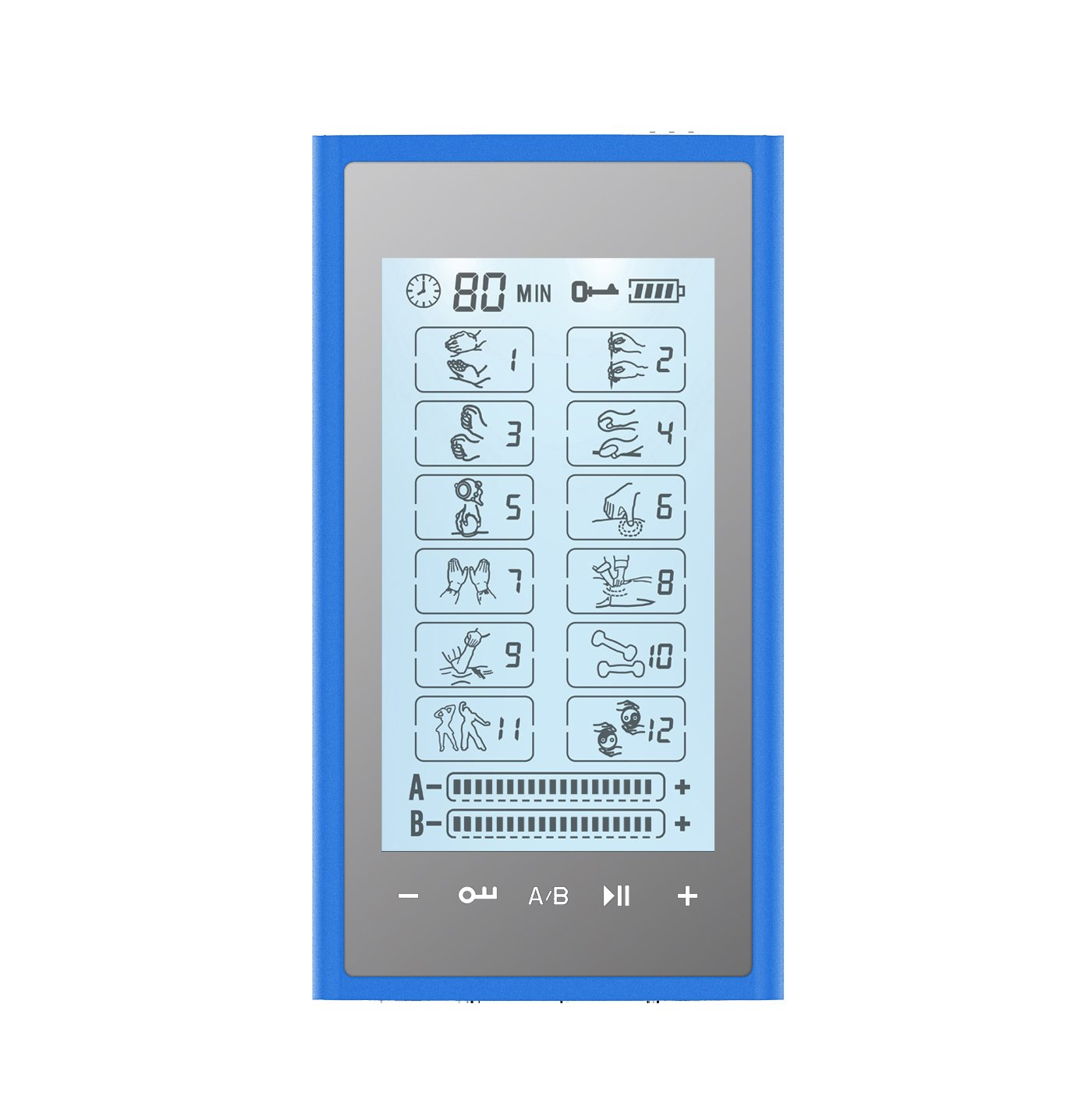 T12AB2 HealthmateForever TENS Unit Electrical Muscle Stimulator Blue in Silver + 10 Pairs of Pads
