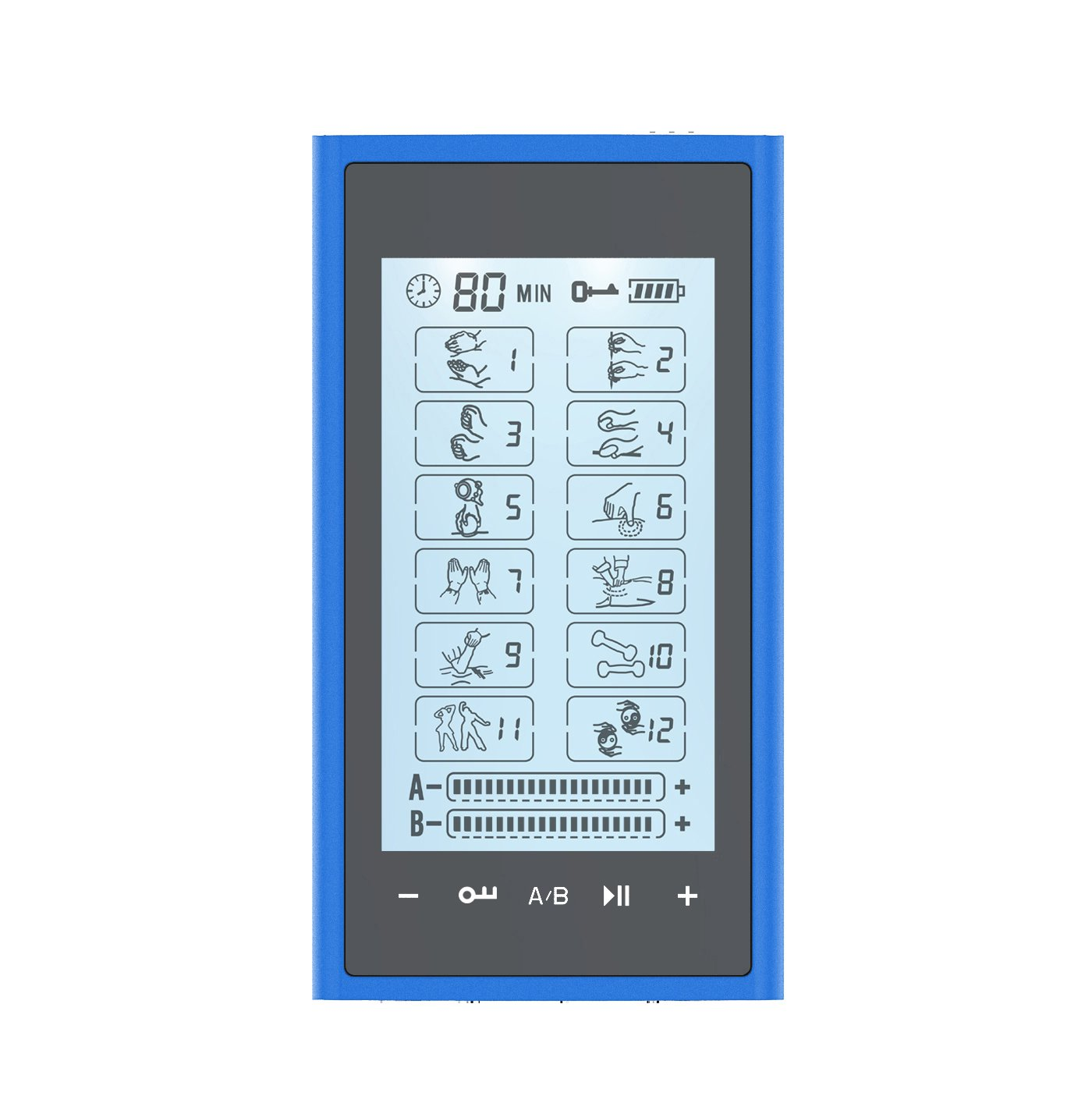 T12AB2 HealthmateForever TENS Unit Electrical Muscle Stimulator Blue in Black + 10 Pairs of Pads