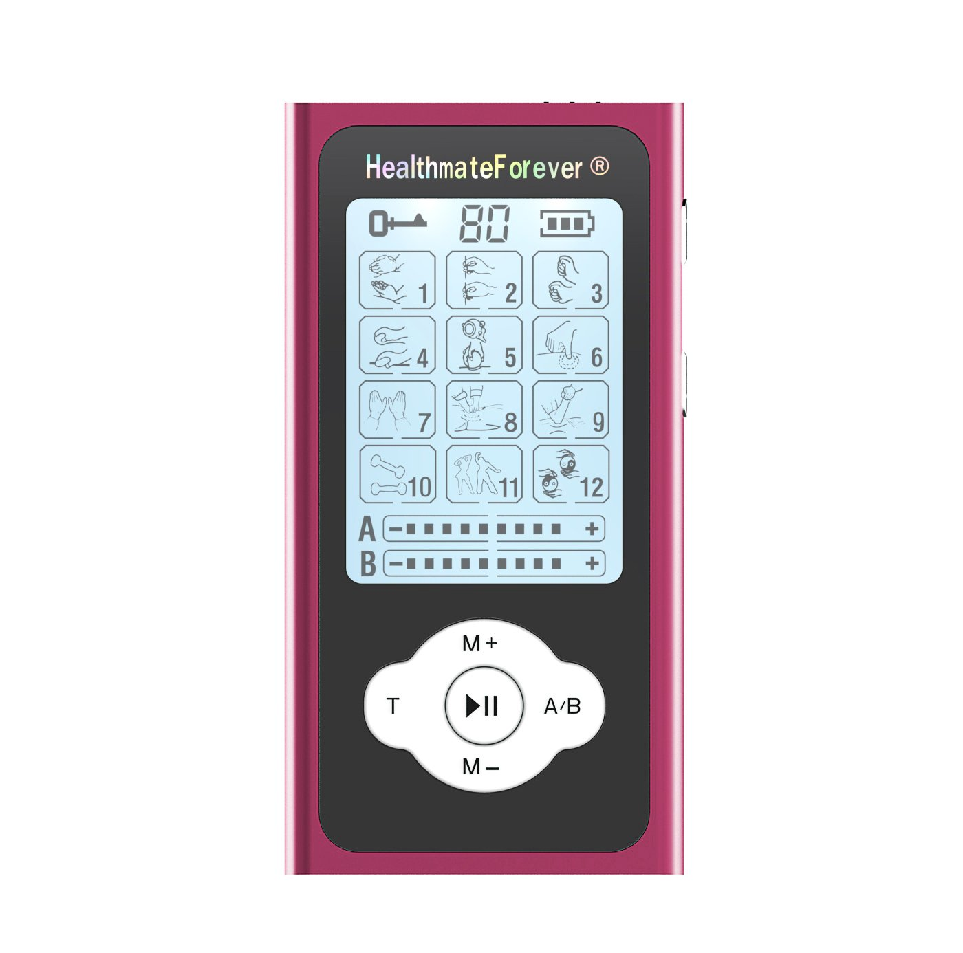 PRO12ABQ HealthmateForever TENS Unit Electrical Muscle Stimulator Red + 10 Pairs of Pads