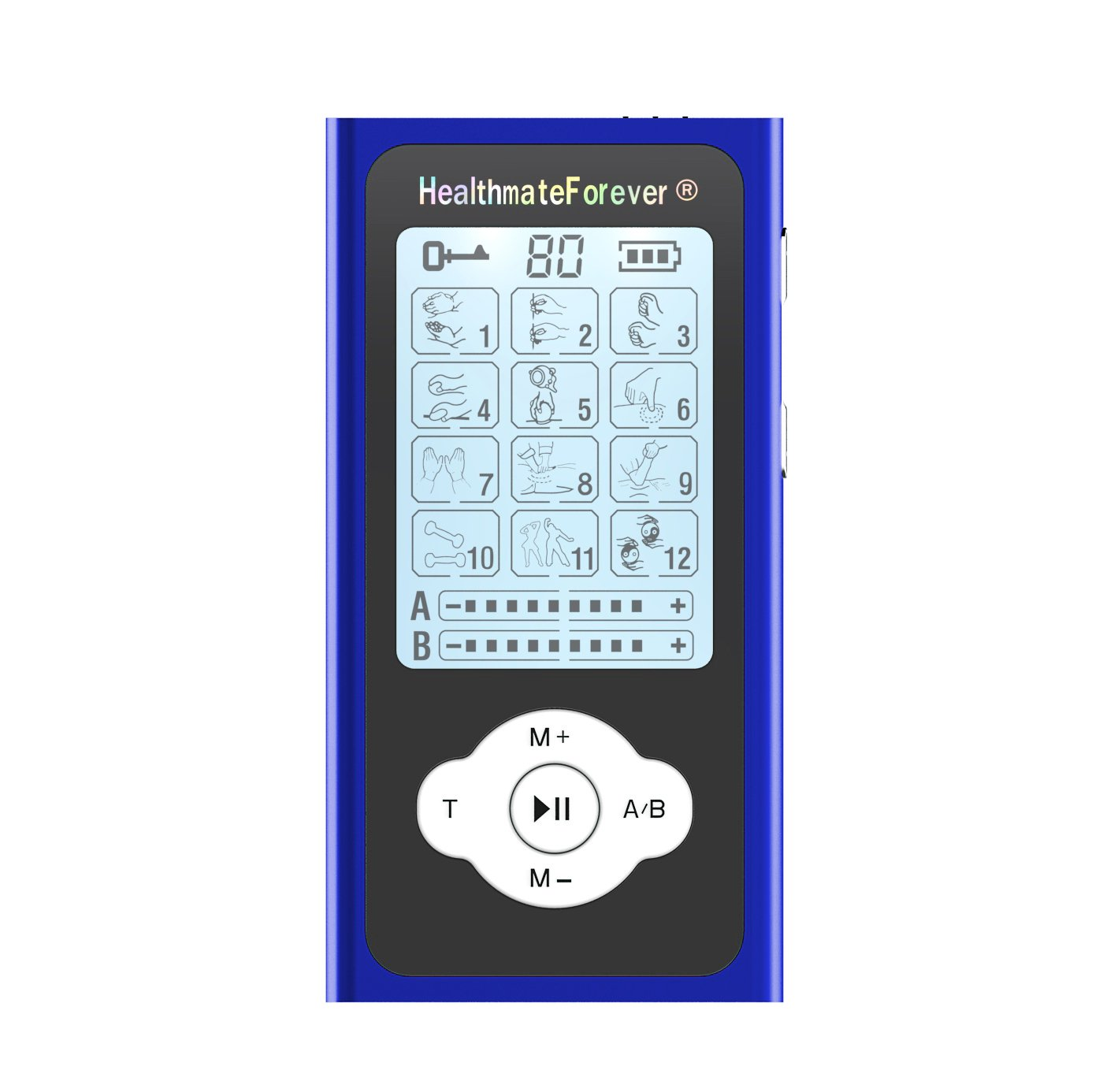 PRO12ABQ HealthmateForever TENS Unit Electrical Muscle Stimulator Blue + 2 Pairs of Pads