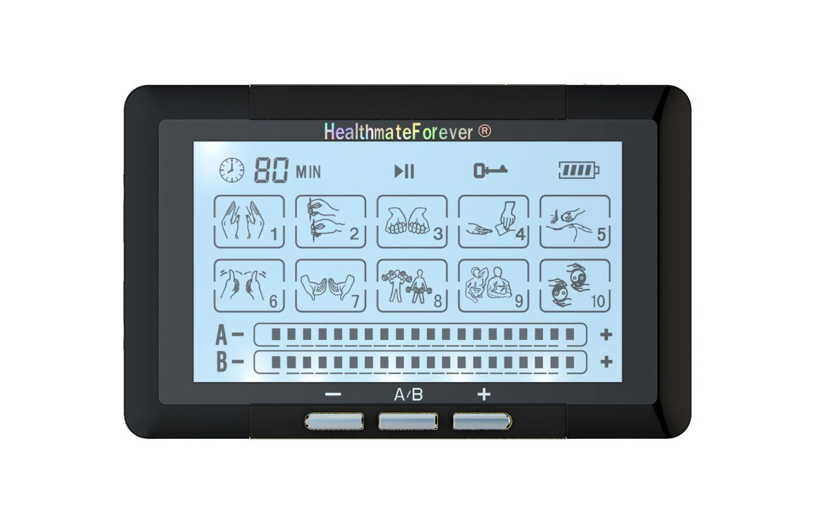 TS10ABH HealthmateForever TENS Unit Electrical Muscle Stimulator Black + 4in1 Leads Wire and 1 Pair
