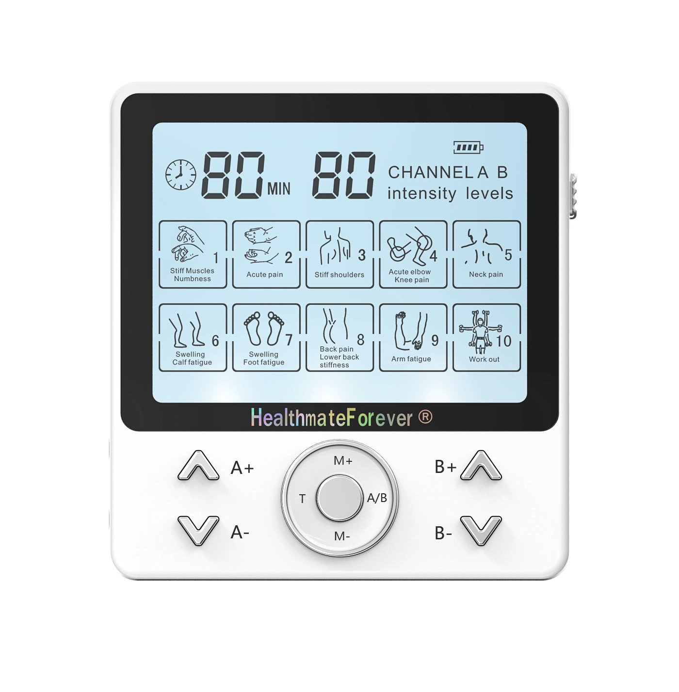 PRO10AB2C HealthmateForever TENS Unit Electrical Muscle Stimulator White + 2 Pairs of Pads