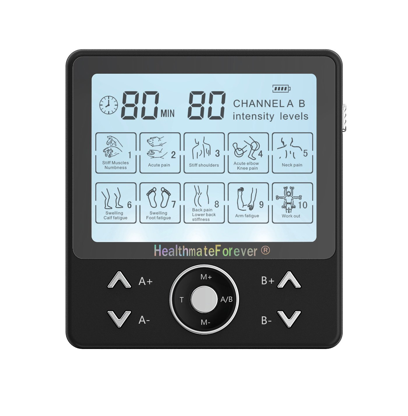 PRO10AB2C HealthmateForever TENS Unit Electrical Muscle Stimulator Black + 10 Pairs of Pads