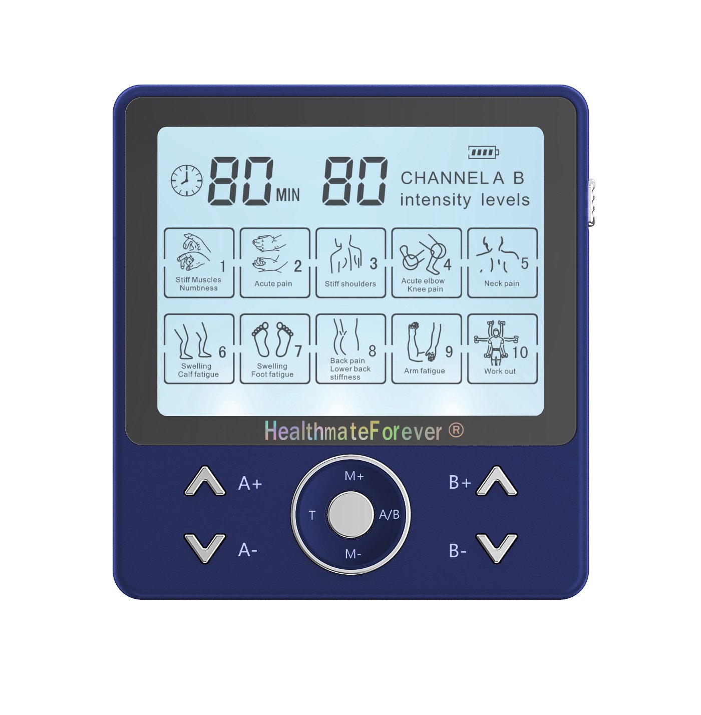 PRO10AB2C HealthmateForever TENS Unit Electrical Muscle Stimulator Blue + 5 Pairs of Pads