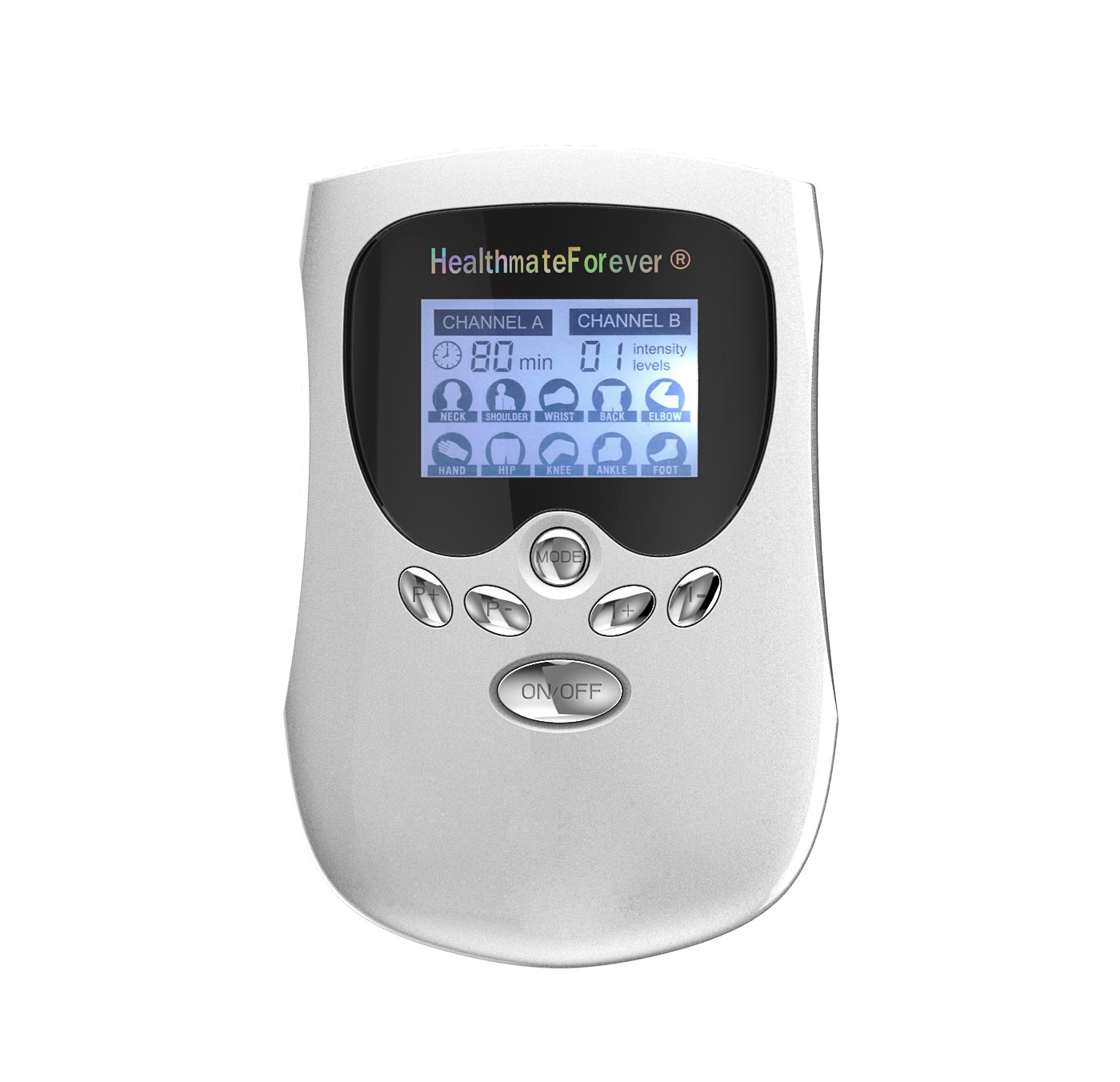 PM10AB HealthmateForever TENS Unit Electrical Muscle Stimulator Silver + 10 Pairs of Pads